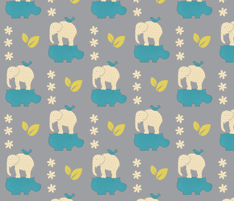 Elephant and hippo fabric by mezzime on Spoonflower - custom fabric