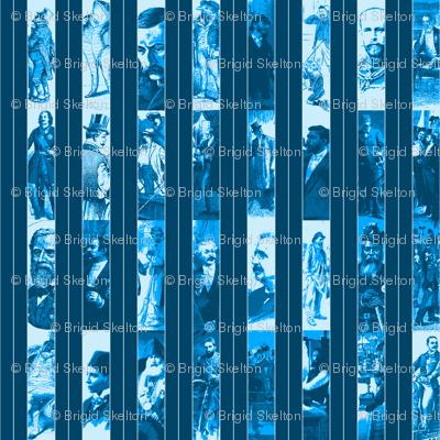 Victorian Men Pinstripe: Blue