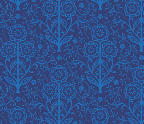 Citrus Flower Cut Paper  - Navy cornflower fabric by jillbyers on Spoonflower - custom fabric