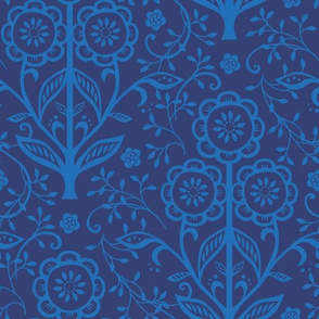 Citrus Flower Cut Paper  - Navy cornflower
