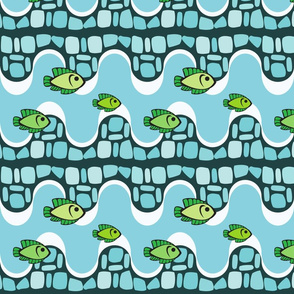 Pattern with smalts and fishes