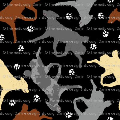 Trotting Mudis and paw prints - black