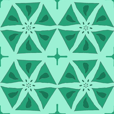 Teal Hexagonal Stars fabric by ravynscache on Spoonflower - custom fabric