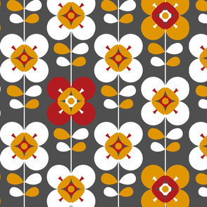 Mod flower red grey lg