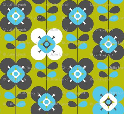 Mod flower blue green lg