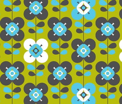 Mod flower blue green lg fabric by cjldesigns on Spoonflower - custom fabric