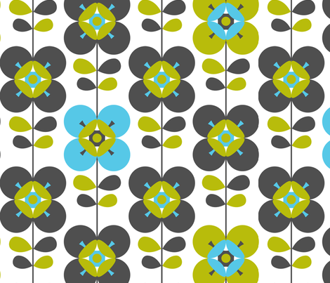 Mod flower blue white lg fabric by cjldesigns on Spoonflower - custom fabric