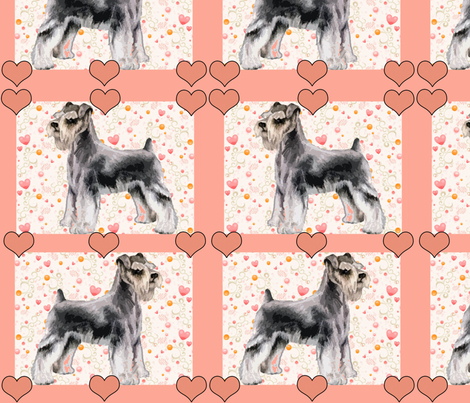 Miniature Schnauzer and Hearts fabric by dogdaze_ on Spoonflower - custom fabric