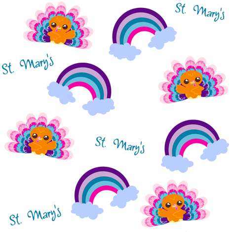 Happy Rainbow Turkey - St. Mary's School - © PinkSodaPop 4ComputerHeaven.com  fabric by pinksodapop on Spoonflower - custom fabric