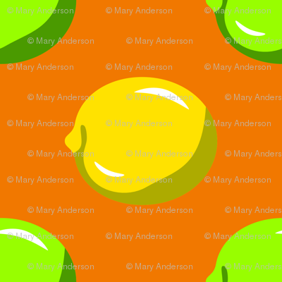 Lemon Lime Dots on orange