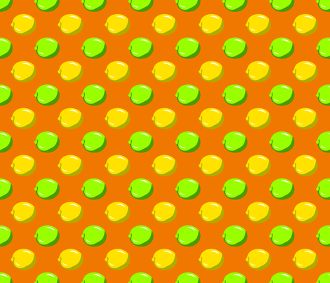 Lemon Lime Dots on orange fabric by anderson_designs on Spoonflower - custom fabric