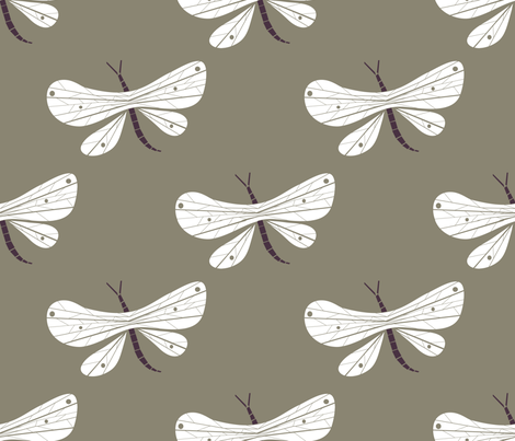 Dragonfly grey fabric by cousaspequenas on Spoonflower - custom fabric