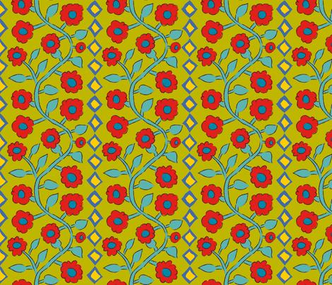 Roses + Diamonds Chartreuse fabric by kristin_nicholas on Spoonflower - custom fabric