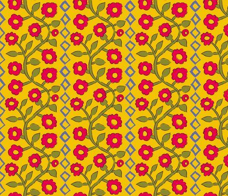 Roses + Diamonds Gold fabric by kristin_nicholas on Spoonflower - custom fabric