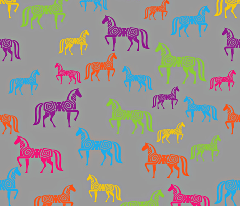 Painted horses_large repeat fabric by kfrogb on Spoonflower - custom fabric
