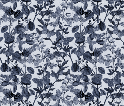 In The Butterflies' Garden ~ Blue & White fabric by peacoquettedesigns on Spoonflower - custom fabric