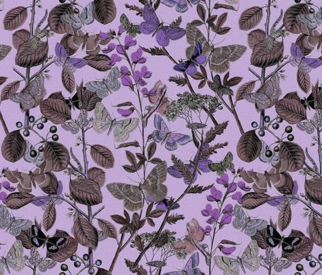 Twilight In The Butterflies' Garden fabric by peacoquettedesigns on Spoonflower - custom fabric