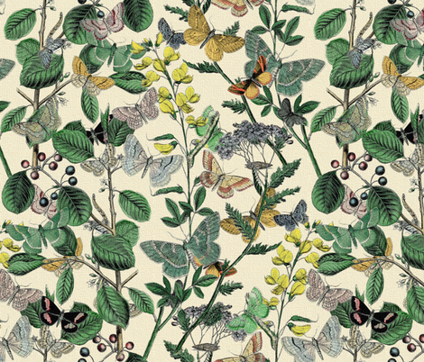 Springtime In The Butterflies' Garden fabric by peacoquettedesigns on Spoonflower - custom fabric
