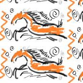 Horse a fire