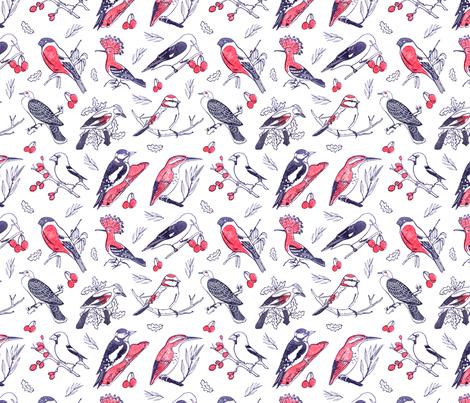 native birds fabric by wideeyedtree on Spoonflower - custom fabric