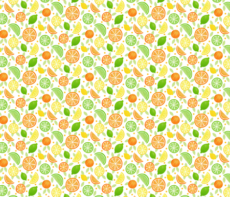 Citrus Fruits - small scale fabric by hazelfishercreations on Spoonflower - custom fabric