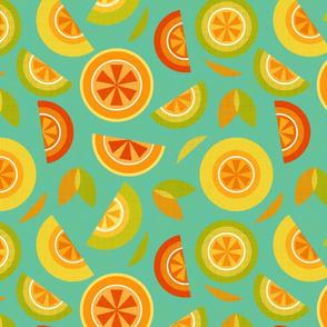citrus on blue