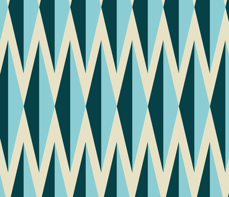 Diamelle_teal_turq_taupe_med fabric by thirdhalfstudios on Spoonflower - custom fabric