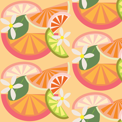 Citrus and Blooms fabric by owlandchickadee on Spoonflower - custom fabric