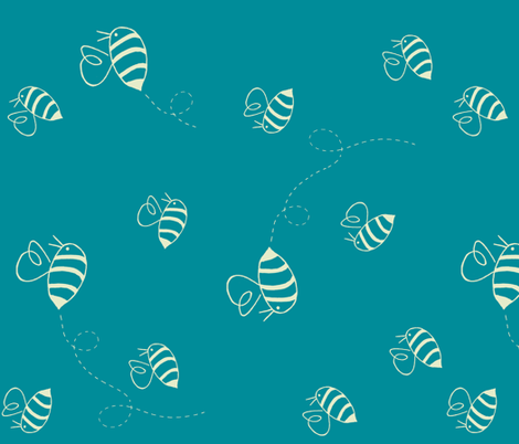 Buzzing bees (custard on turquoise, rotated) fabric by calmcradle on Spoonflower - custom fabric