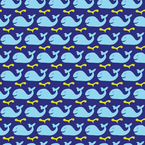 Happy whales -blue fabric by solvejg on Spoonflower - custom fabric