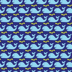 Happy whales -blue