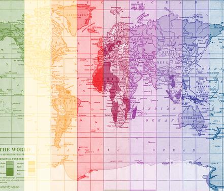 Rainbow World Map fabric by aftermyart on Spoonflower - custom fabric