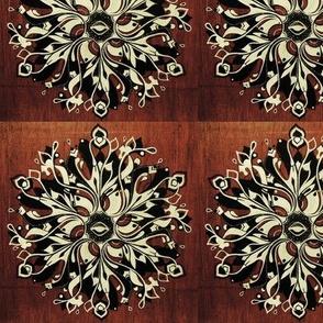 black and white mandala, on wood background