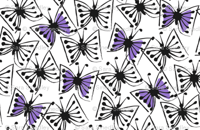 fluttery - blue-violet on white