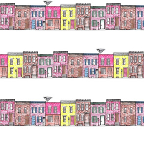 Watercolor Rowhomes