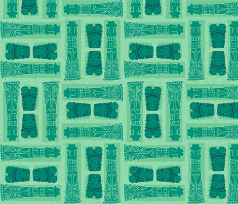 Mid-Century Tiki Gods GREEN fabric by aimee on Spoonflower - custom fabric