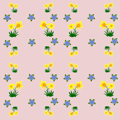 Daffodils and Forget-Me-Nots fabric by ravynscache on Spoonflower - custom fabric