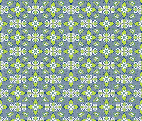 Lattice in green and weathered blue fabric by ladyrattus on Spoonflower - custom fabric