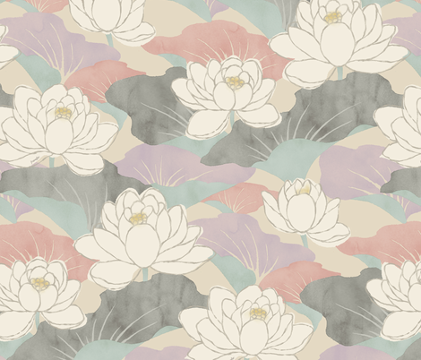 White Lotus - nadeshiko  - fabric by frumafar on Spoonflower - custom fabric