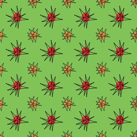 Atomic Halloween - Green Starburst fabric by heidikenney on Spoonflower - custom fabric