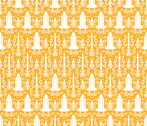 Rocket Science Damask (Light Orange) fabric by robyriker on Spoonflower - custom fabric