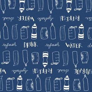 Water bottles (white on blue linen)