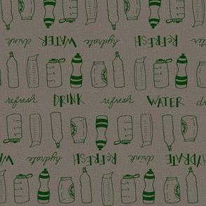 Water Bottles (linen and green)