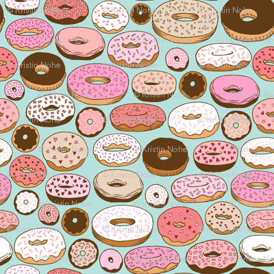 donuts on blue - smaller scale