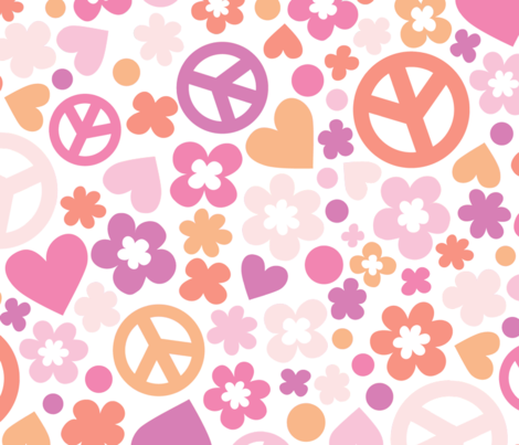 Modern Flower Child Love & Peace fabric by minimiel on Spoonflower - custom fabric