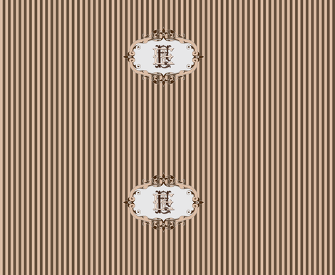 Brown and beige stripes with EF monogram fabric by itzuki87 on Spoonflower - custom fabric