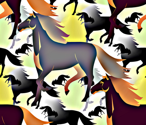 Horses in brown/bleu fabric by alfabesi on Spoonflower - custom fabric