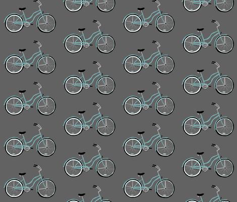 Aqua Bike on Gray fabric by beththompsonart on Spoonflower - custom fabric