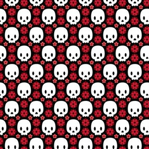 Skulls and red flowers