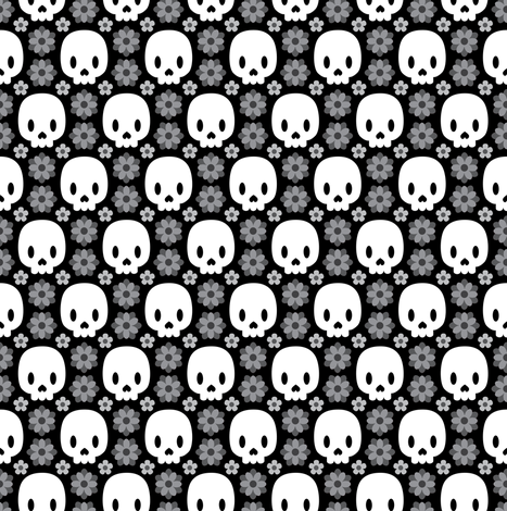 Skulls and grey flowers fabric by petitspixels on Spoonflower - custom fabric
